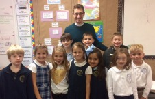 The Rev. Steven and some of the students at St. Paul's School in Waco, TX